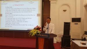 Ông Hồ Quý Vinh - Đội trưởng bến xe buýt Sài Gòn chia sẻ kết quả thực hiện tại Hội thảo